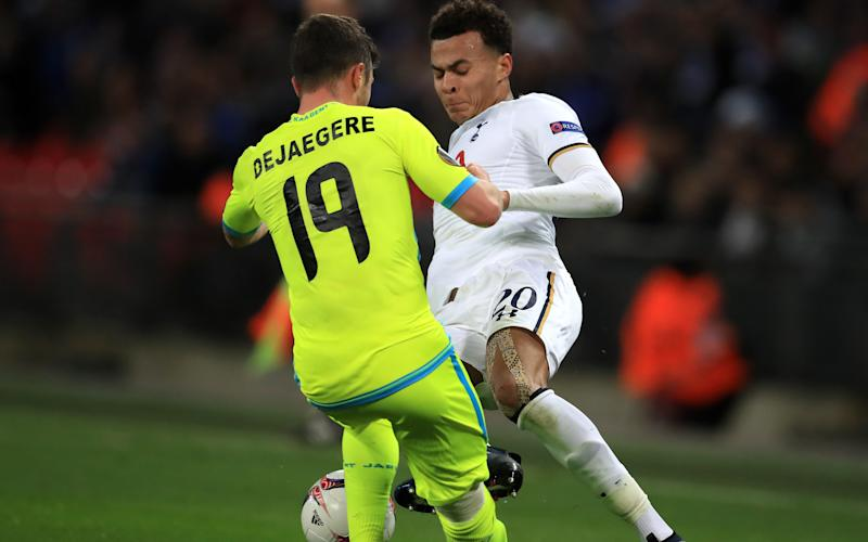 Alli was sent off for this challenge against Gent - and will pay the price next season - PA Wire/PA Images