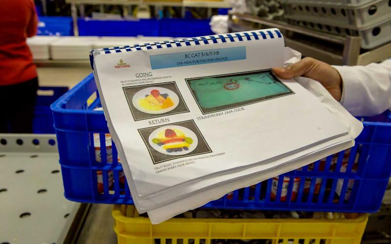 Guidelines show the items and placing of food selections on trays for staff. | Talia Avakian