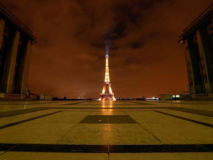The Eiffel Tower as a national lockdown starts as part of the COVID-19 measures to fight a second wave of the coronavirus disease.