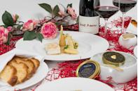 """<p>Wake up to the smell of freshly made croissants with Robuchon's Breakfast in Bed, including pain au chocolat, champagne and further French gourmet finery. </p><p>The restaurant has you set for the rest of the day too, offering a four-course dinner menu created by the head chef Dario Avenc, featuring handpicked crab, Oscietra caviar, seared wild sea bass, stuffed guinea fowl breast and a delightful blueberry cream and jam served atop a heart-shaped puff pastry.</p><p>From £60. To order, ring <span>020 8076 0564</span> or email <a href=""""mailto:enquires@ledelirobuchon.co.uk"""" data-ylk=""""slk:enquires@ledelirobuchon.co.uk"""" class=""""link rapid-noclick-resp"""">enquires@ledelirobuchon.co.uk</a>.</p>"""