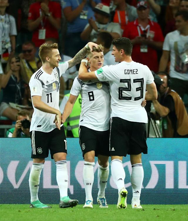Soccer Football - World Cup - Group F - Germany vs Sweden - Fisht Stadium, Sochi, Russia - June 23, 2018 Germany's Toni Kroos celebrates scoring their second goal with team mates REUTERS/Pilar Olivares