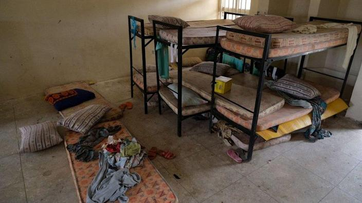 Bunk beds and mattresses in a dormitory of the government girls' secondary school, Jangebe