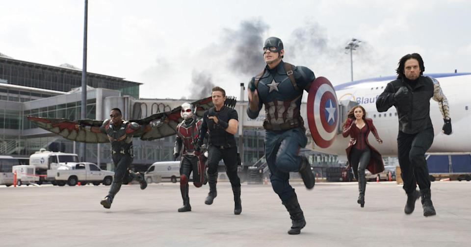 <p>Falcon, Ant-Man, Hawkeye, Scarlet Witch, and Winter Soldier have Captain America's back in the superhero smackdown. <i>(Photo: Disney)</i></p>