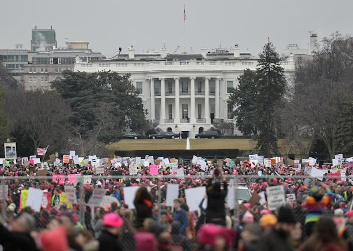 In January 2017, Women's March demonstrators protested near the White House one day after US President Donald Trump took office (AFP Photo/Andrew CABALLERO-REYNOLDS)