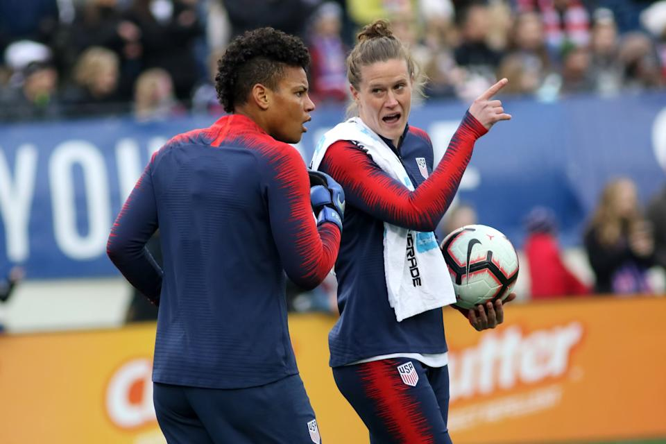 NASHVILLE, TN - MARCH 02:   United States goalkeeper Adrianna Franch (21) and United States goalkeeper Alyssa Naeher (1)  during warm ups for the SheBelieves Cup match between the United States and England at Nissan Stadium on March 2nd, 2019 in Nashville, Tennessee.  (Photo by Michael Wade/Icon Sportswire via Getty Images)