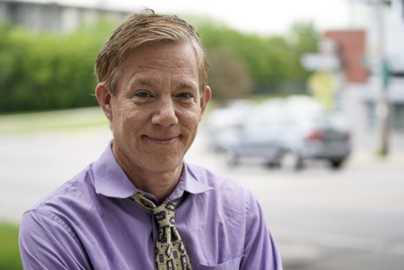 """Benjamin Lund is seen Friday June 5, 2020, in Milwaukee. Lund is a longtime Republican who was raised in a conservative family in the political battleground of Wisconsin, now plans to vote a straight Democratic ticket and rejects any effort by Trump to put a """"silver lining"""" on the nation's pain. (AP Photo/Morry Gash)"""