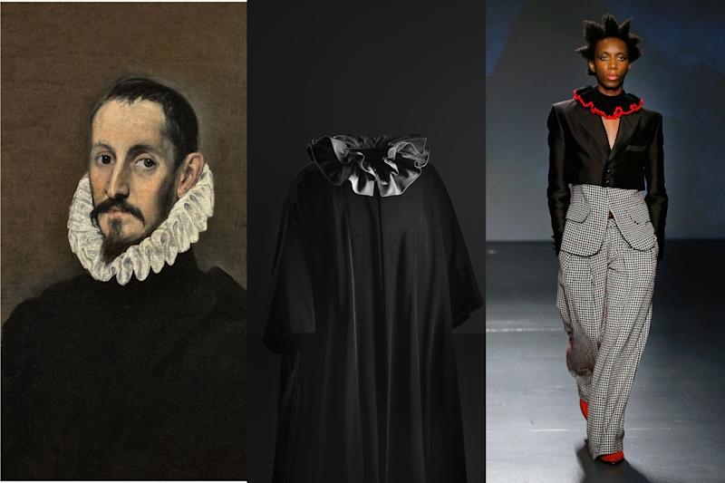 """""""Ecclesiastical vestments and aesthetics have marked many of the silhouettes of Balenciaga. They wrap a woman's body without compressing it, leaving freedom of movement within the costume. The cardinals and other powerful leaders in the hierarchy of the Roman Catholic Church has always been a reference in haute couture, this undoubtedly is also a space that I visit often in my research, and that has influenced my way of appreciating beauty since I was a child."""" El Greco, Portrait of a Gentleman (left); Balenciaga evening coat with ruffled collar, velvet and faille (middle); Palomo Spain, Fall 2019 (left)."""
