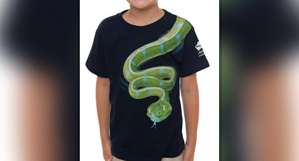 The snake t-shirt was deemed too problematic for fellow passengers. Source: Australia Zoo