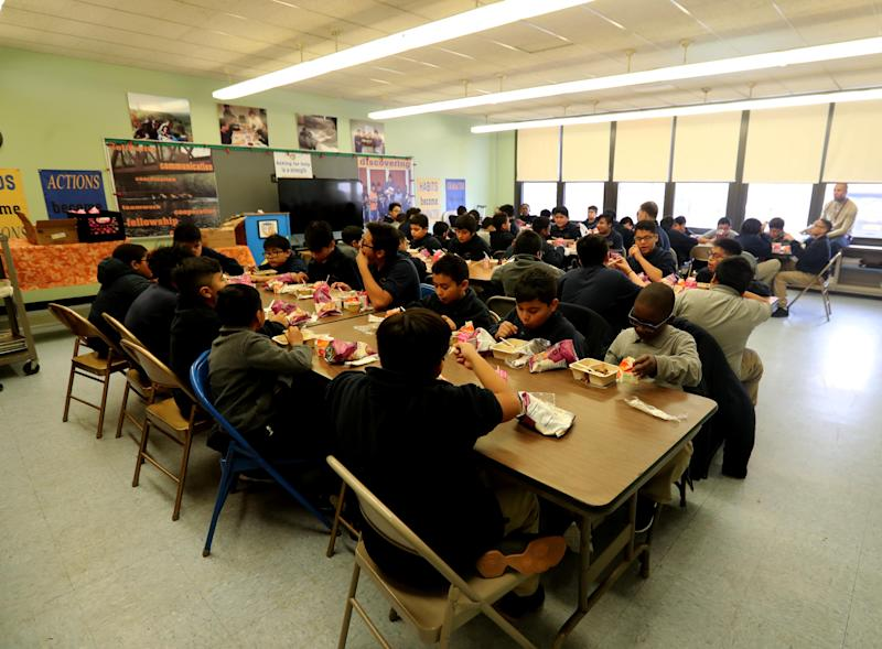 Students at the San Miguel Academy of Newburgh gather for lunch Dec. 5, 2018. The San Miguel Academy, a fifth through eighth grade school, was created 12 years ago to serve low-income and at-risk youth in Newburgh. The school came to be with the help of a group of Chappaqua residents who assisted Father Mark Connell, who at the time was an assistant Pastor at Church of St Mary's in Chappaqua, in it's creation.