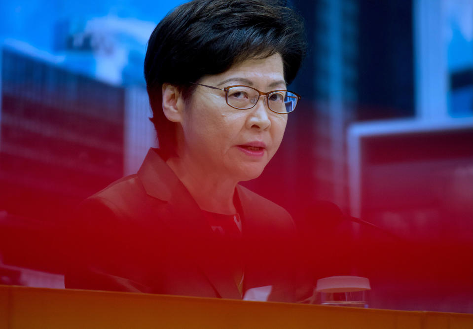 Hong Kong Chief Executive Carrie Lam speaks during a press conference in Hong Kong, Tuesday, April 13, 2021. Lam said Tuesday that Hong Kong's legislative elections would take place in December, more than a year after they were postponed last year with authorities citing public health risks from the coronavirus pandemic. (AP Photo/Vincent Yu)