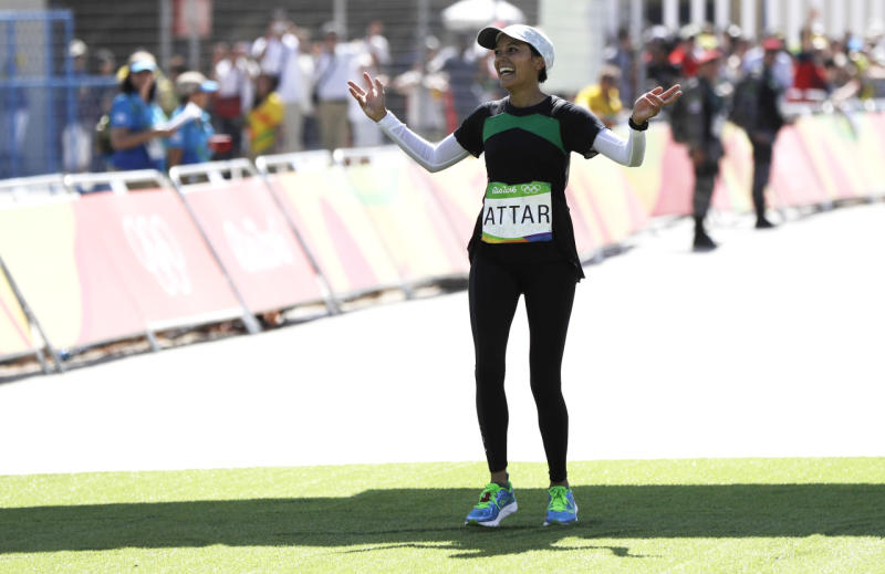 Sarah Attar crossing the finish line in the women's marathon at the 2016 Summer Olympics. (Photo: AP)