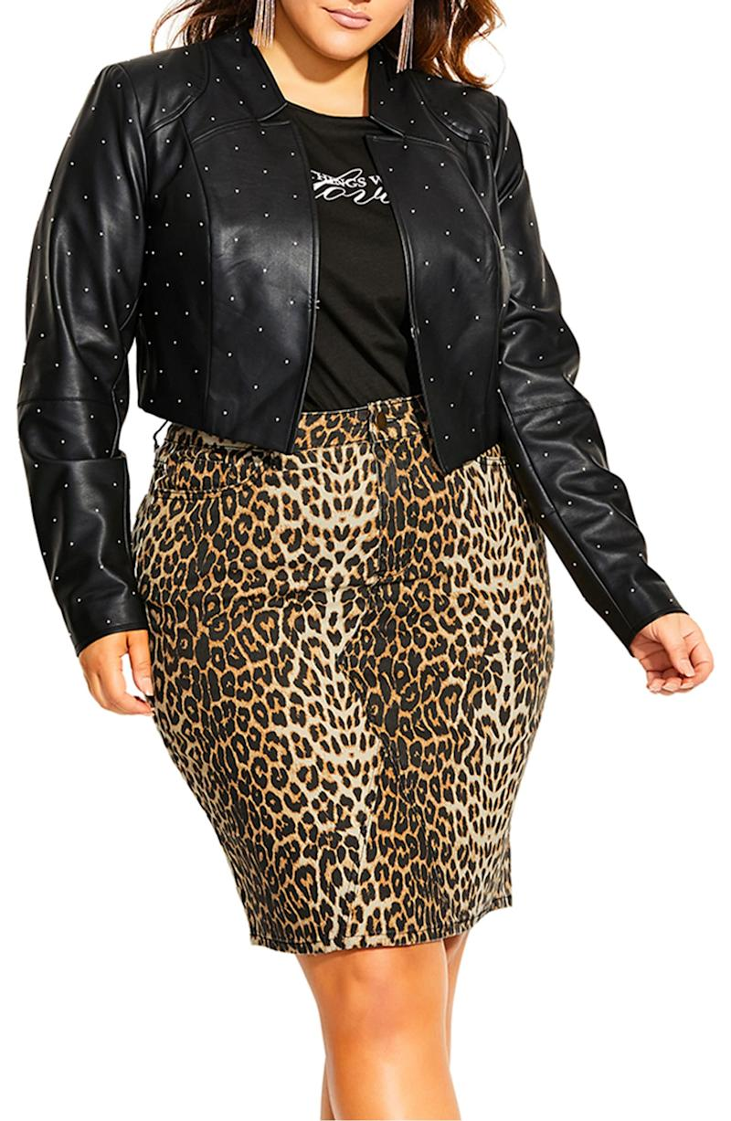 City Chic Temptation Stud Detail leather jacket (Photo via Nordstrom)