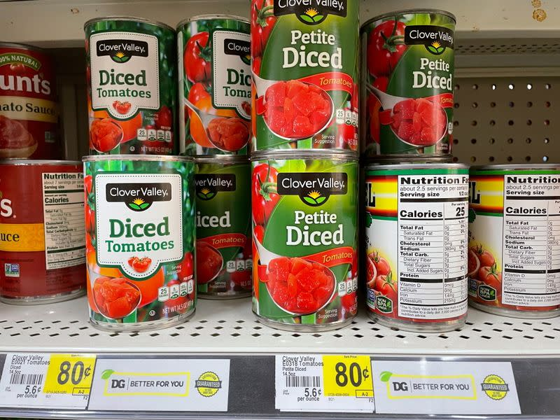 Cans of tomatoes are seen at a Dollar General store in Norridge, Chicago