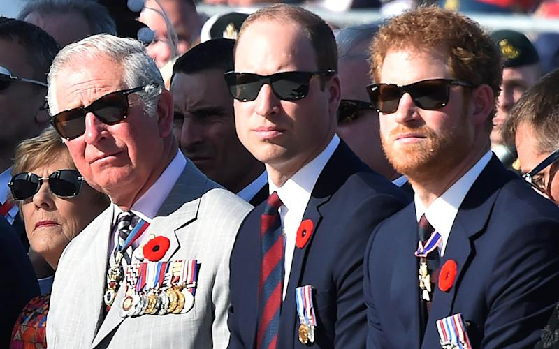 Brothers Prince Harry and the Duke of Cambridge, and their father the Prince of Wales