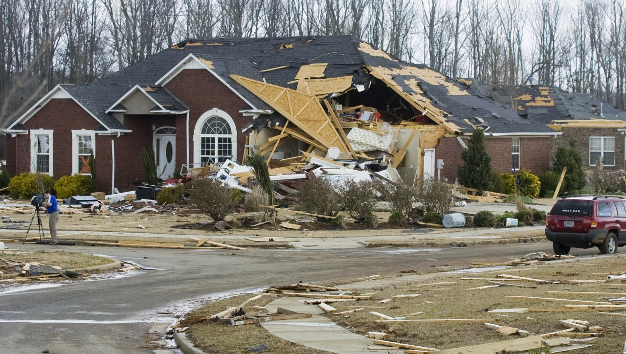 A house destroyed by a tornadoin the Eagle Point subdivision, Friday, March 2, 2012 in Limestone County, Ala. (AP Photo/The Decatur Daily, Jeronimo Nisa)