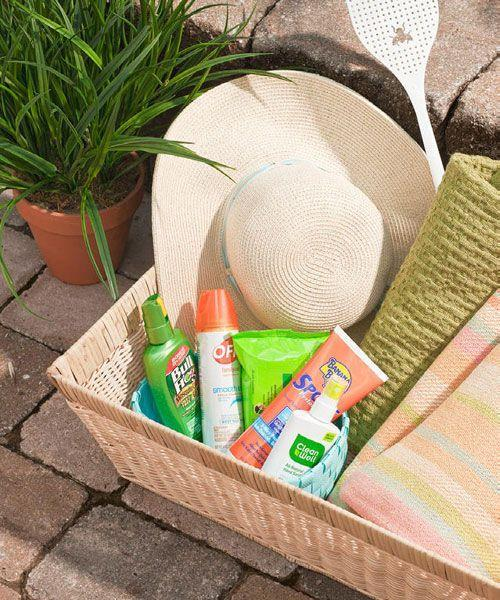 <p>Keep guests comfortable outdoors all day long and into the night with summer essentials. Leave out amenities like sunscreen, bug spray, hand wipes, and, if it turns chilly, light blankets. </p>