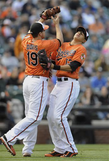 Baltimore Orioles first baseman Chris Davis, left, collides with third baseman Manny Machado on a pop up by Los Angeles Dodgers Justin Sellers in the eighth inning of the first baseball game of a doubleheader Saturday, April 20, 2013, in Baltimore. (AP Photo/Gail Burton)
