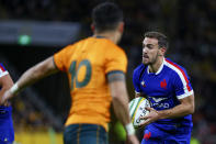 France's Melvyn Jaminet runs at the defence during the third rugby international between France and Australia at Suncorp Stadium in Brisbane, Australia, Saturday, July 17, 2021. (AP Photo/Tertius Pickard)
