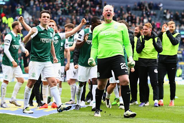 GLASGOW, SCOTLAND - APRIL 16: Conrad Logan of Hibernian celebrates after Hibernian win the Scottish Cup Semi Final between Hibernian and Dundee United at Hampden Park on April 16, 2016 in Glasgow, Scotland. (Photo by Clive Rose/Getty Images)