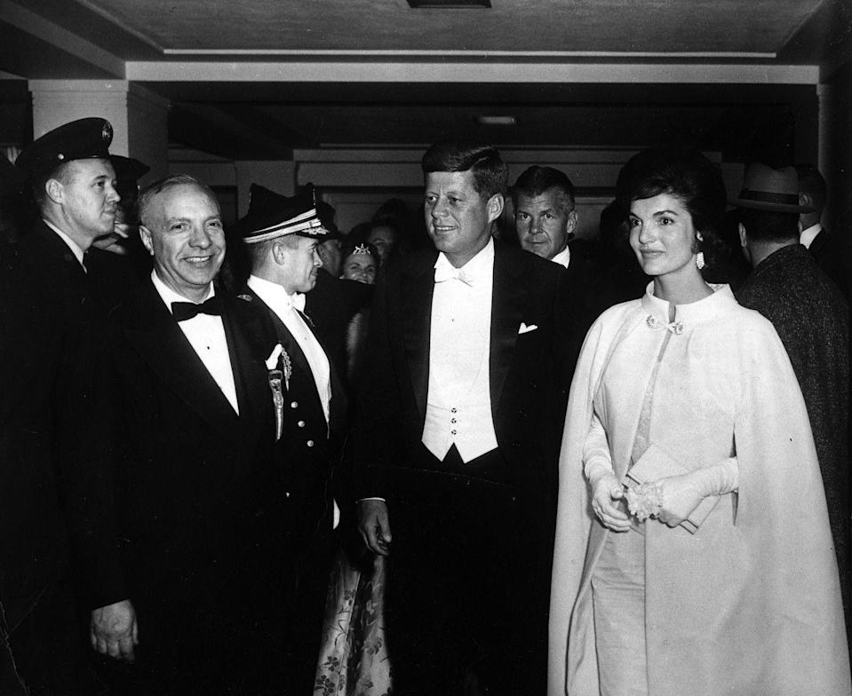 <p>On the evening of President Kennedy's inauguration, he and Jacqueline Kennedy arrive at the inaugural ball at the National Guard Armory in Washington D.C. </p>