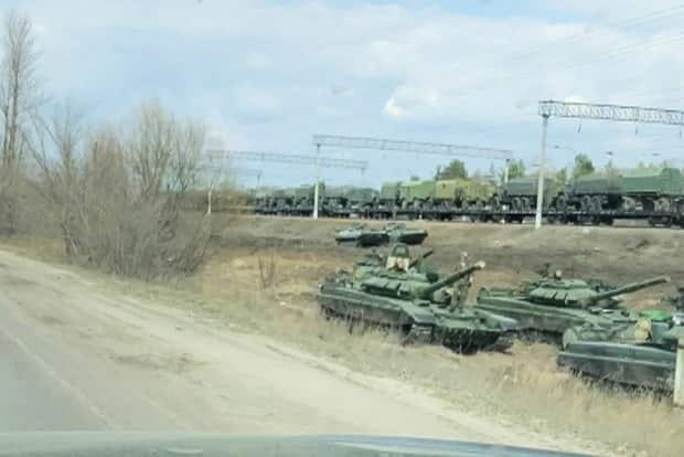 A still image from a Reuters video shows tanks and military vehicles in Maslovka, Voronezh Region, Russia, on April 6. Russia has said the recent build-up of forces near the Ukrainian border and the disputed Crimean peninsula is part of a 'readiness' exercise in response to NATO exercises.
