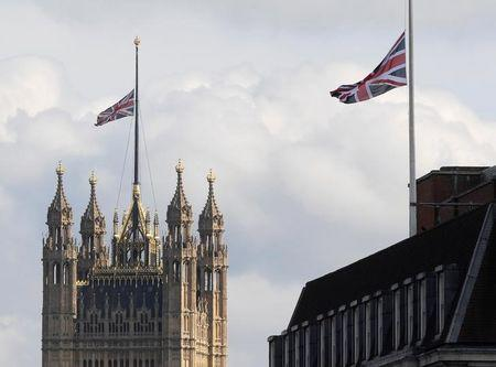 Union flags fly at half mast over Parliament and Whitehall in memory of the victims of the atack on Manchester Arena, in London, Britain, May 23, 2017. REUTERS/Toby Melville