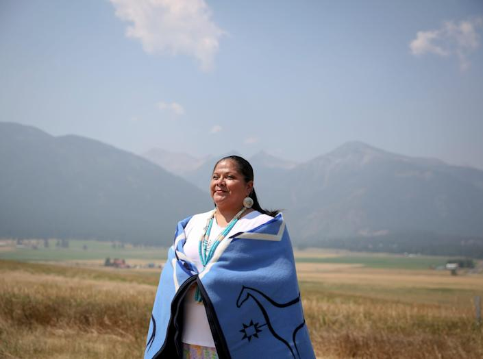Shari BlackEagle joins her family in the Nez Perce Tribe for a land blessing ceremony on Thursday, July 29, 2021 in Joseph, Ore. BlackEagle's family descends from Chief BlackEagle who is Chief Joseph's brother-in-law.