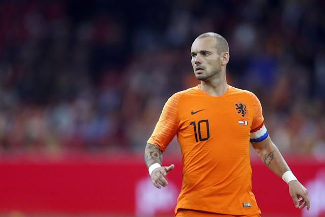Wesley Sneijder of Holland during the International friendly match match between The Netherlands and Peru at the Johan Cruijff Arena on September 06, 2018 in Amsterdam, The Netherlands. (VI Images via Getty Images)