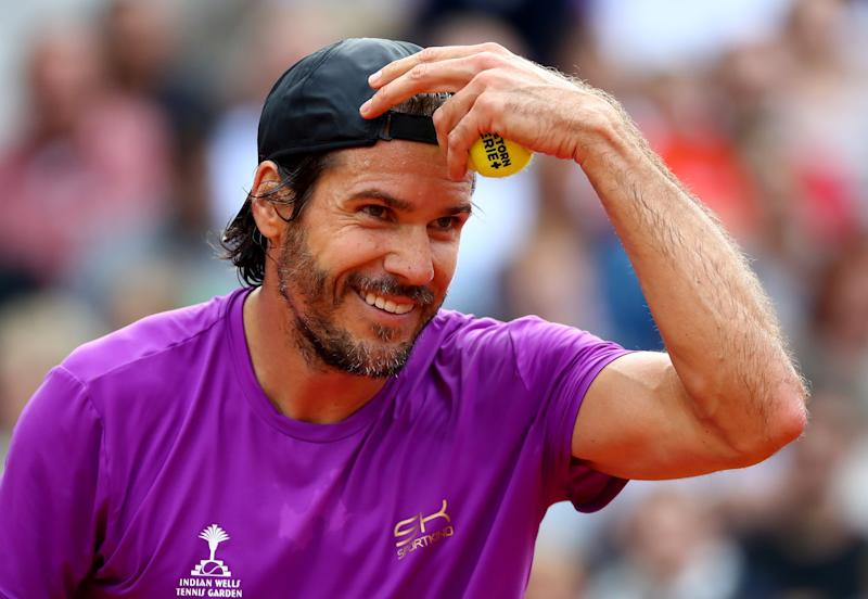 HAMBURG, GERMANY - JULY 23: Tommy Haas of Germany reacts during the Manhagen Classics against Michael Stich of Germany at Rothenbaum on July 23, 2017 in Hamburg, Germany. (Photo by Martin Rose/Bongarts/Getty Images)