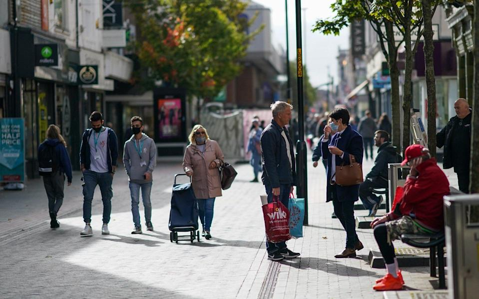 Shoppers walk through Middlesbrough town centre on October 02, 2020 in Middlesbrough, England - Ian Forsyth/Getty Images