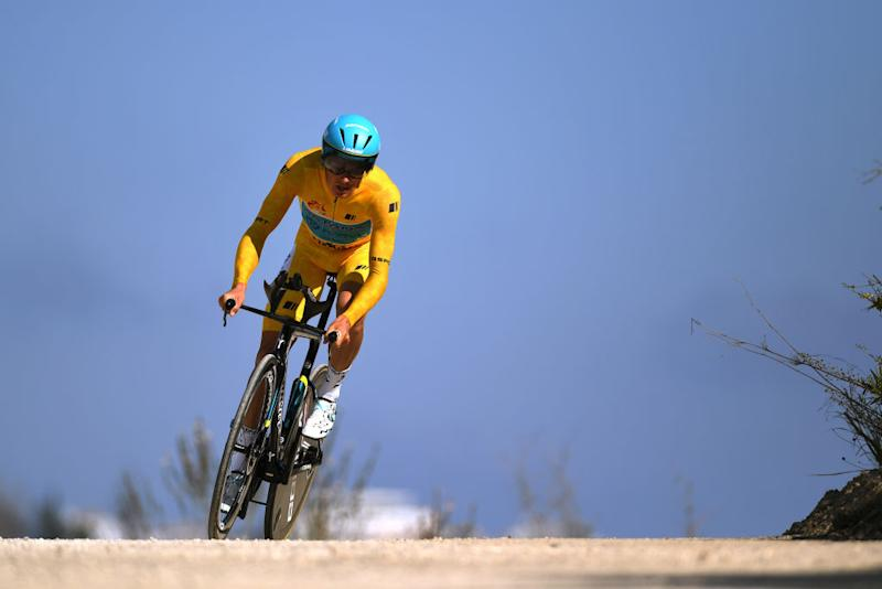 MIJAS SPAIN FEBRUARY 23 Jakob Fuglsang of Denmark and Astana Pro Team Yellow Leader Jersey during the 66th Vuelta a Andaluca Ruta del Sol 2020 Stage 5 a 13km Individual Time Trial from Mijas to Mijas 672m VCANDALUCIA UCIProSeries ITT on February 23 2020 in Mijas Spain Photo by David RamosGetty Images