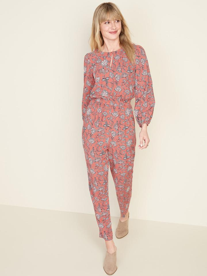 "<p>We can't wait to wear this <a href=""https://www.popsugar.com/buy/Waist-Defined-Keyhole-Jumpsuit-555559?p_name=Waist-Defined%20Keyhole%20Jumpsuit&retailer=oldnavy.gap.com&pid=555559&price=24&evar1=fab%3Auk&evar9=47296622&evar98=https%3A%2F%2Fwww.popsugar.com%2Ffashion%2Fphoto-gallery%2F47296622%2Fimage%2F47296698%2FOld-Navy-Waist-Defined-Keyhole-Jumpsuit&list1=shopping%2Cold%20navy%2Cjumpsuits&prop13=api&pdata=1"" rel=""nofollow"" data-shoppable-link=""1"" target=""_blank"" class=""ga-track"" data-ga-category=""Related"" data-ga-label=""https://oldnavy.gap.com/browse/product.do?pid=551839012&amp;cid=1134873&amp;pcid=1051876&amp;vid=1&amp;grid=pds_9_62_1#pdp-page-content"" data-ga-action=""In-Line Links"">Waist-Defined Keyhole Jumpsuit</a> ($24) with snake-print ankle boots for a really stylish look.</p>"