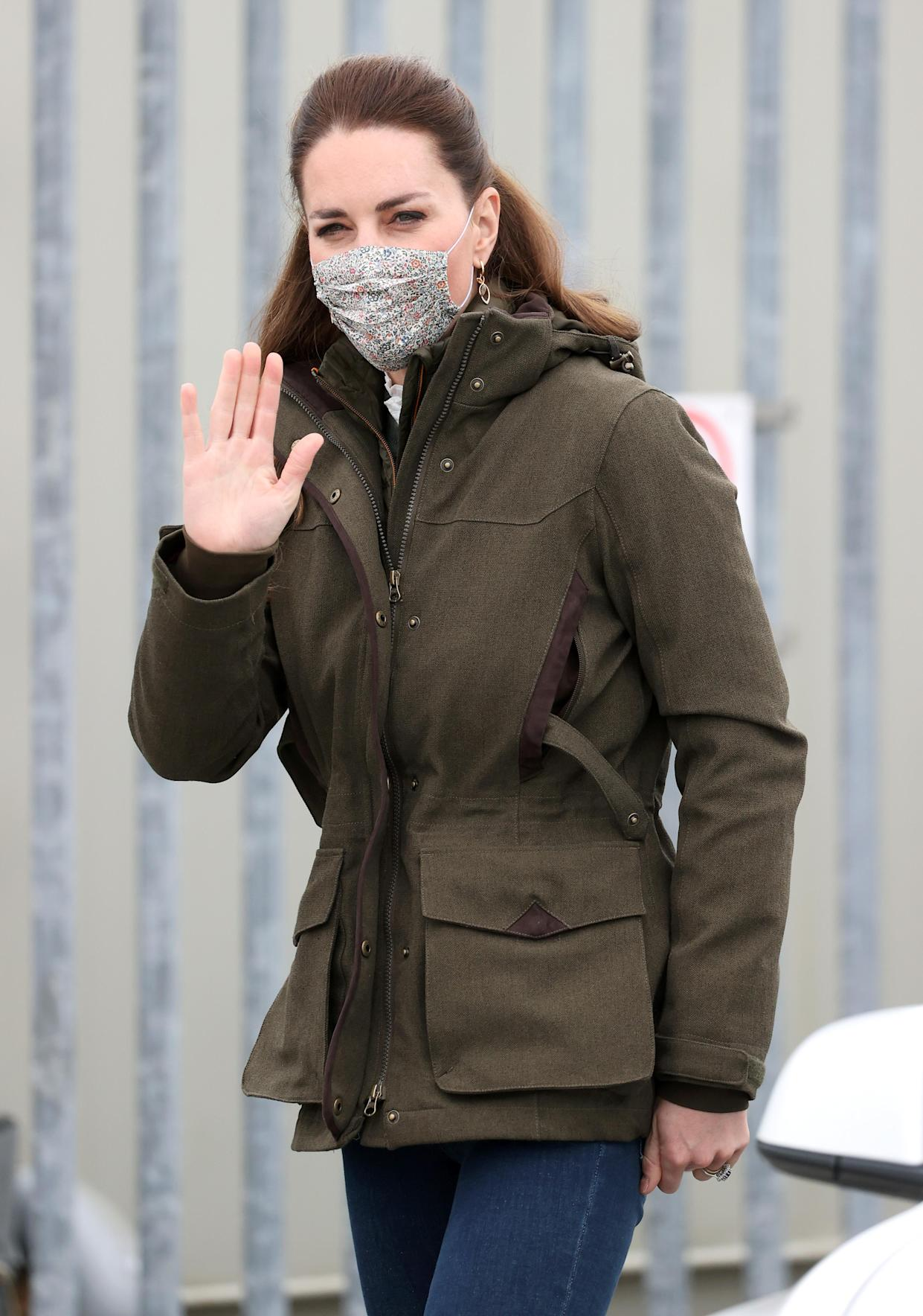 STROMNESS, SCOTLAND - MAY 25: Catherine, Duchess of Cambridge arrives for a visit to the European Marine Energy Centre with Prince William, Duke of Cambridge on day five of their week long visit to Scotland on May 25, 2021 in Stromness, Scotland.  (Photo by Chris Jackson/Getty Images)