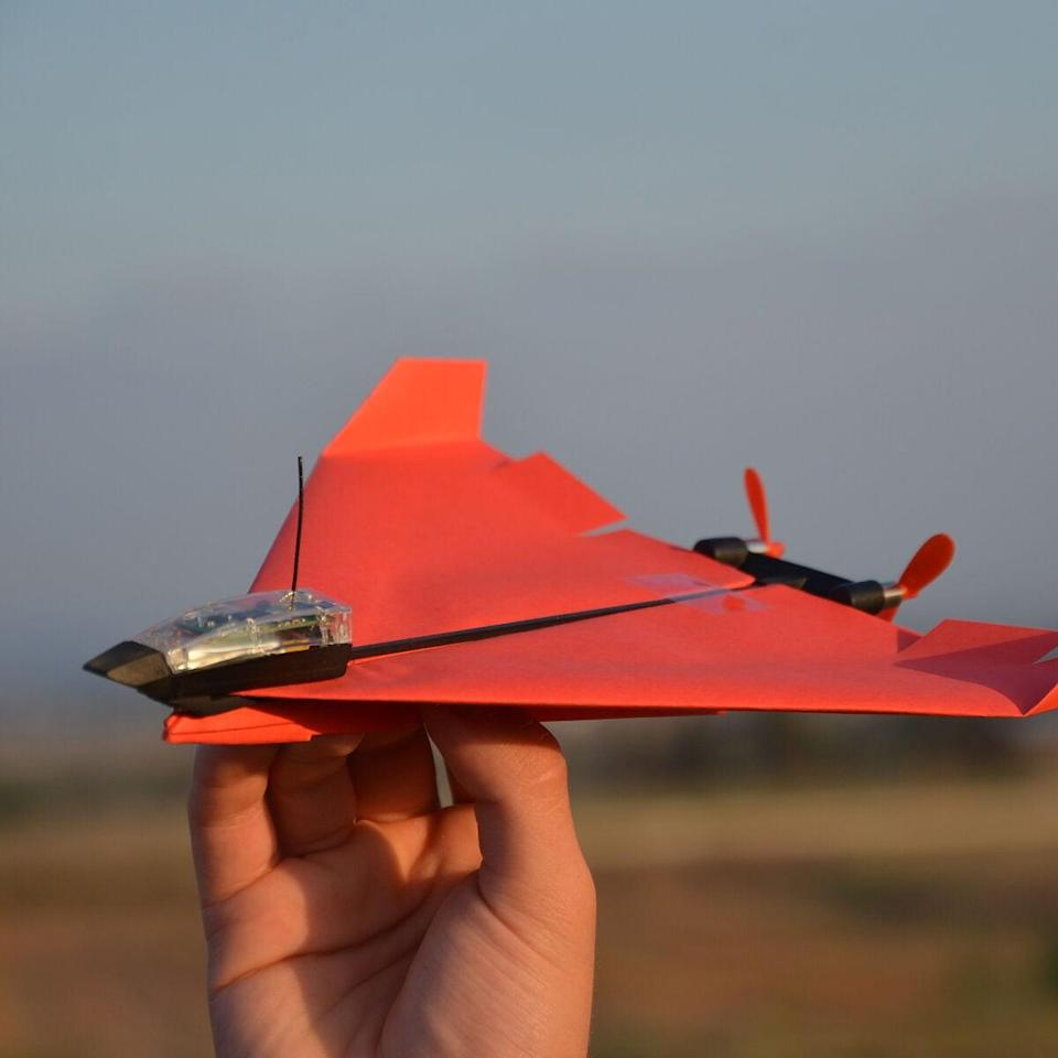 <p>Get outside and try out this <span>Smartphone-Controlled Paper Airplane</span> ($70). It can be controlled from an app on your phone via Bluetooth.</p>