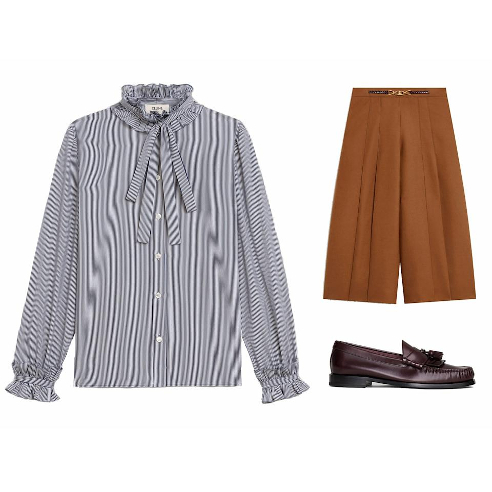 """<p>Channel your inner 1970's bourgeois woman in this full look by Celine. The feminine bow blouse offsets the masculine culottes and loafers.</p> <p><strong>Buy now:</strong> Celine blouse, $1,300, <a href=""""https://www.celine.com/en-us/celine-shop-women/ready-to-wear/shirts-and-blouses/blouse-with-lavalliere%2C-frill-collar-and-cuffs-in-striped-cotton-2B133969E.01WN.html"""">celine.com</a>, Celine culotte, $4,150, <a href=""""https://www.celine.com/en-us/celine-shop-women/ready-to-wear/pants/pleated-culotte-in-flannel-wool-2P281399F.02CM.html"""">celine.com</a>, Celine loafer, $890, <a href=""""https://www.celine.com/en-us/celine-shop-women/shoes/flats/celine-luco-loafer-with-tassels-in-polished-calfskin-328143001C.28RB.html"""">celine.com</a>.</p>"""