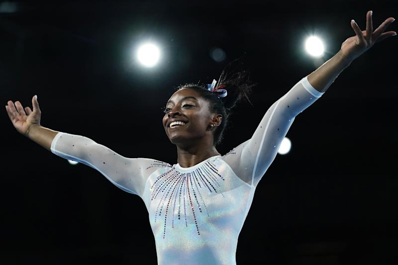 USA's Simone Biles reacts after performing on the floor in the womens all-around final at the FIG Artistic Gymnastics World Championships at the Hanns-Martin-Schleyer-Halle in Stuttgart, southern Germany, on October 10, 2019. (Photo by Lionel BONAVENTURE / AFP) (Photo by LIONEL BONAVENTURE/AFP via Getty Images)