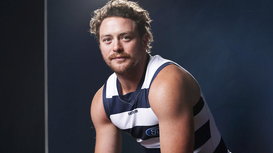 Jack Steven is pictured in a media opportunity after signing with the AFL's Geelong Cats.