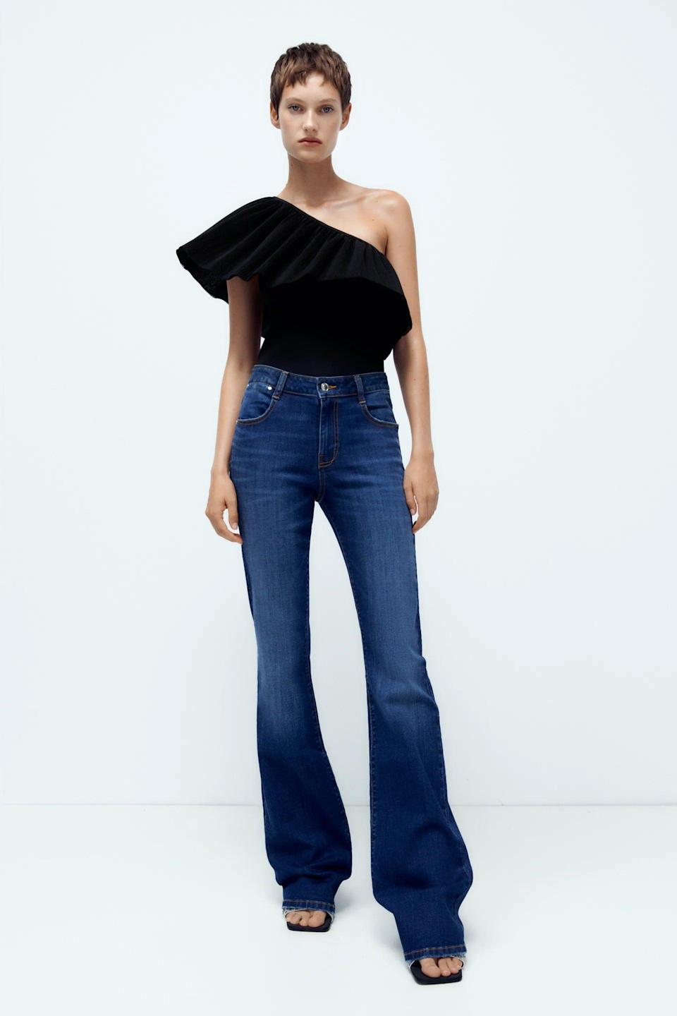 <p>Flashback to the early 2000's with the <span>Zara Z1975 High Rise Flared Jeans</span> ($46). The darker blue wash is easy to take from day to night.</p>