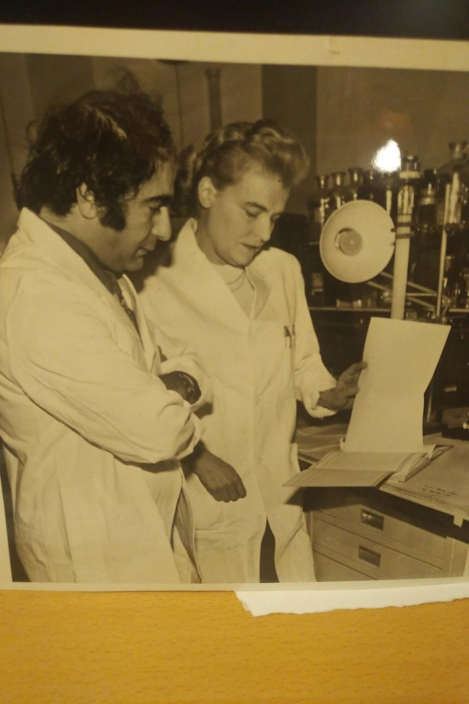 Professor Gregory Gregoriadis with Dr Brenda Ryman in their laboratory at the Royal Free Hospital School of Medicine in 1971, the year they published their research about the use of liposomes as drug carriers