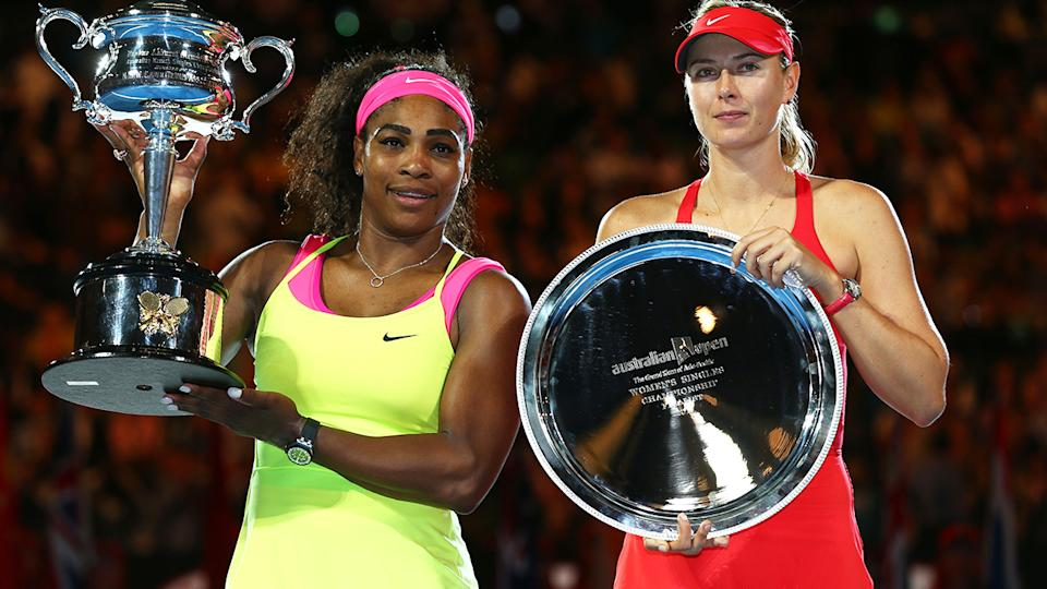 Serena Williams and Maria Sharapova, pictured here after the 2015 Australian Open final.