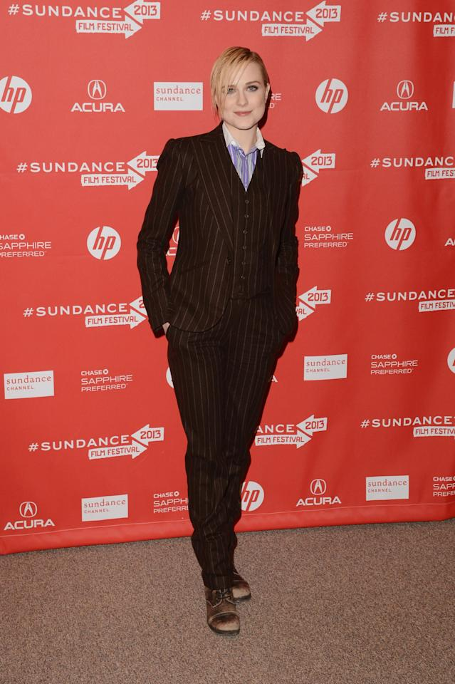 """PARK CITY, UT - JANUARY 21:  Actress Evan Rachel Wood attends """"The Necessary Death Of Charlie Countryman"""" premiere at Eccles Center Theatre during the 2013 Sundance Film Festival on January 21, 2013 in Park City, Utah.  (Photo by Jason Merritt/Getty Images)"""