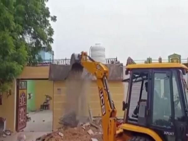 A visual of the illegal property that were demolished in Madhya Pradesh. (Photo/ANI)