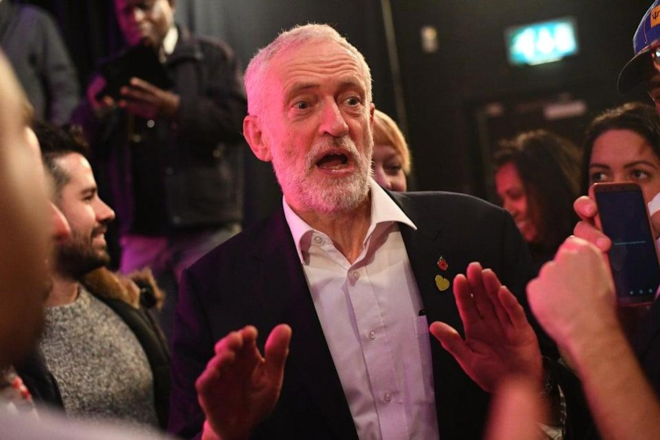 Labour leader Jeremy Corbyn with activists at Flash Music Theatre, Edgware, London, in 2019 (Victoria Jones/PA) (PA Archive)