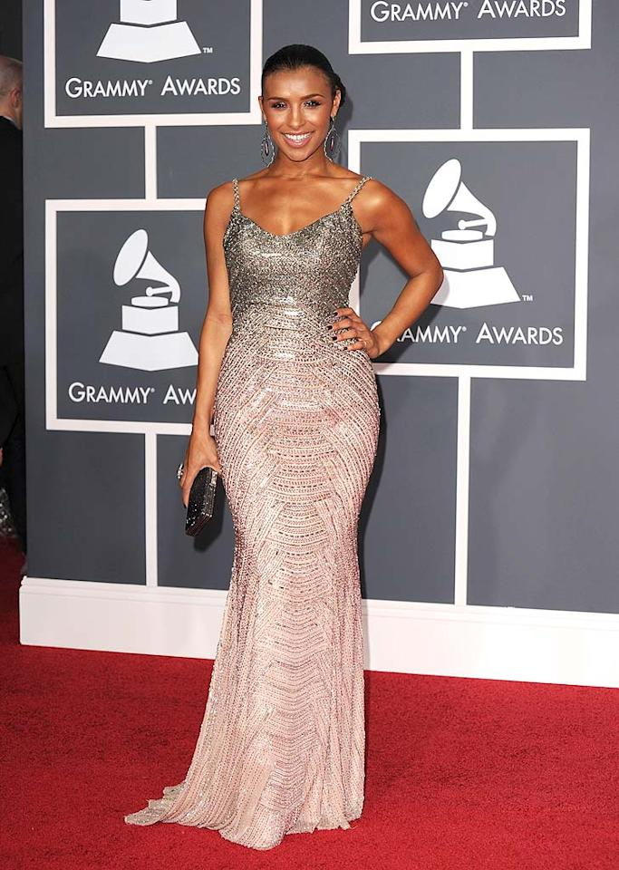 "Melody Thornton  Grade: B+   The Pussycat Doll was on the prowl in a dazzling dress, chic coif, and monstrous earrings. Steve Granitz/<a href=""http://www.wireimage.com"" target=""new"">WireImage.com</a> - January 31, 2010"