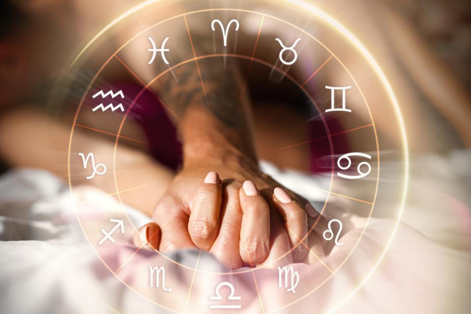 Concept of couple having perfect intimate match and love compatibility due to matching horoscope