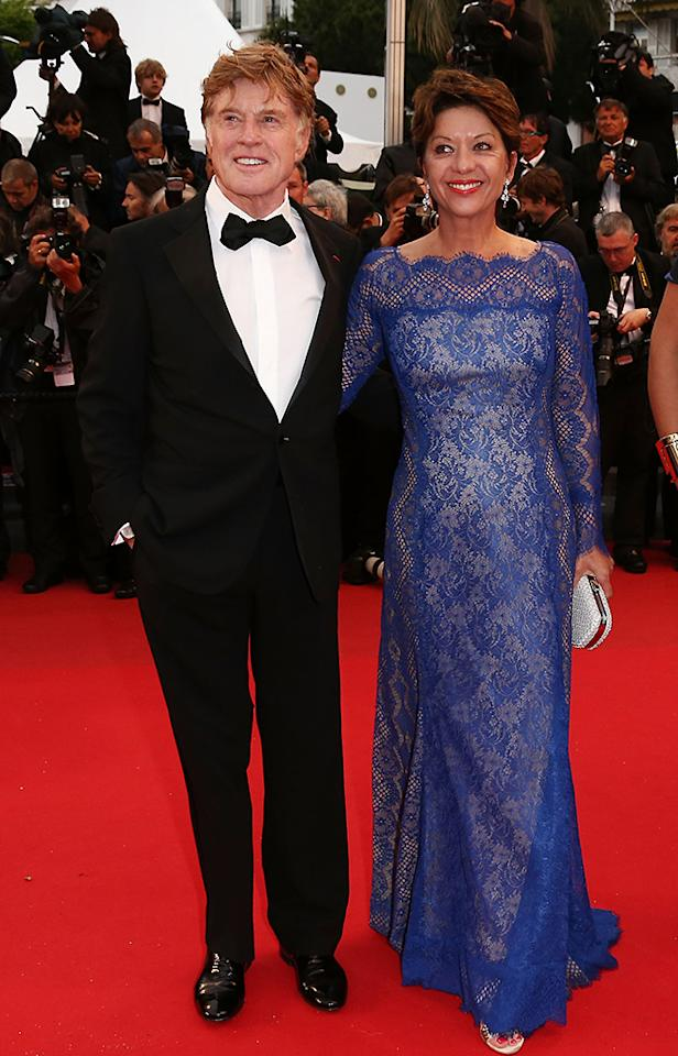 CANNES, FRANCE - MAY 22:  Actor Robert Redford (L) and his wife Sibylle Szaggars attend the 'All Is Lost' Premiere during the 66th Annual Cannes Film Festival at Palais des Festivals on May 22, 2013 in Cannes, France.  (Photo by Andreas Rentz/Getty Images)
