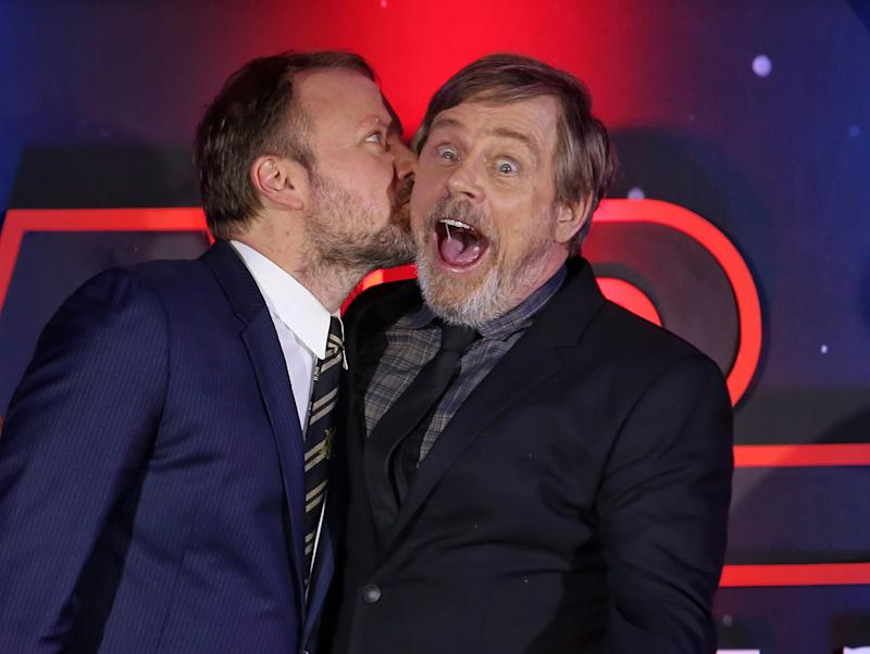 Rian Johnson and Mark Hamill seen on the black carpet during the photo call for Star Wars: The Last Jedi held in Mexico City, Mexico on November 20, 2017. (Photo by Liliana Ampudia/Sipa USA)