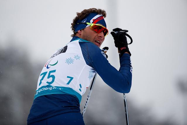 Benjamin Daviet of France looks on after finishing in the Biathlon Standing Men's 15km at the Alpensia Biathlon Centre. The Paralympic Winter Games, PyeongChang, South Korea, Friday 16th March 2018. OIS/IOC/Simon Bruty/Handout via Reuters
