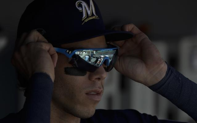 Christian Yelich let David Samson have it on Twitter. (AP Photo)