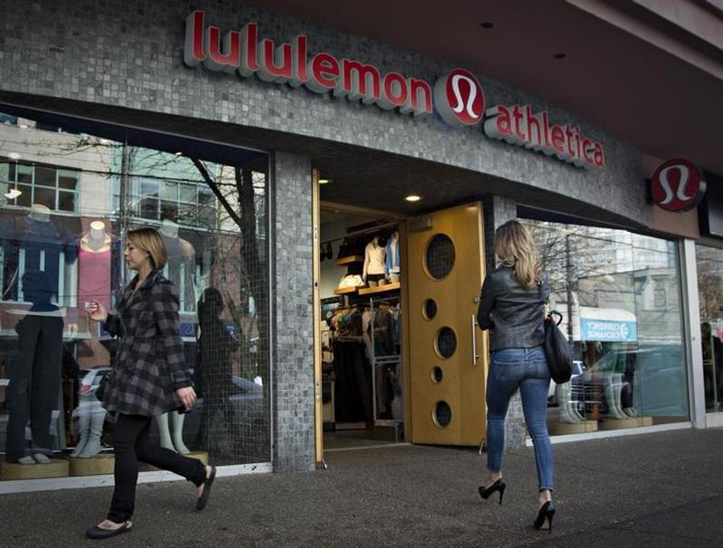 A customer enters the Lululemon store in downtown Vancouver